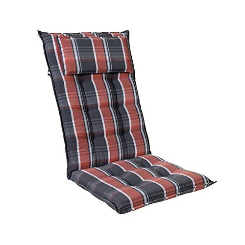 Homeoutfit24 Sylt - Cojín Acolchado para sillas de jardín, Hecho en Europa, Respaldo Alto con cojín de Cabeza extraíble, Resistente Rayos UV, Poliéster, 120 x 50 x 9 cm, 1 Unidad, Negro/Rojo