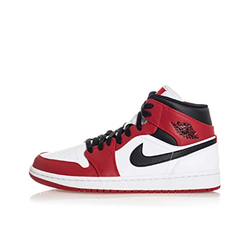 Nike Air Jordan 1 Mid, Scarpe da Basket Uomo, White/Gym Red-Black, 45 EU