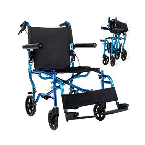 ZZR Erwachsener Rollstuhl Faltbarer Leichtgewichtler-Festrad-Doppelbremse, starker Aluminiumlegierungs-Rahmen-Rollstuhl für Senioren – 120kg Gewichts-Kapazität