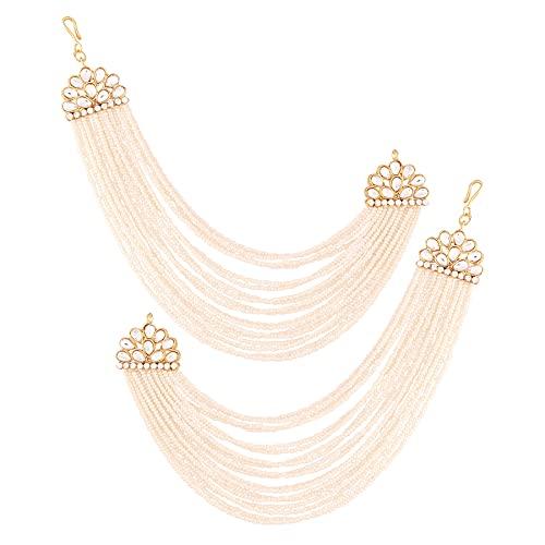 I Jewels Cadena de oreja de múltiples hilos de Bollywood de boda india chapada en oro de 18 quilates con perla para mujer (E2882W)