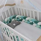 Yoommd Protector de bordes de cama trenzado para cuna, con 4 hebras, longitud de 2 m