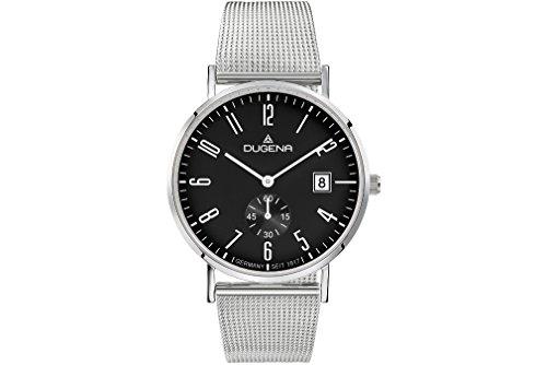 Dugena Herren Quarz-Armbanduhr, Saphirglas, Milanaise-Armband, Mondo, Silber, 4460782
