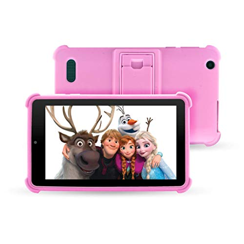 """Venturer Small Wonder 7"""" Android Kids Tablet with Disney Books, Bumper Case & Google Play, 16GB Storage & 2GB RAM Dual Band 5GHz/2.4GHz WiFi (Pink)"""