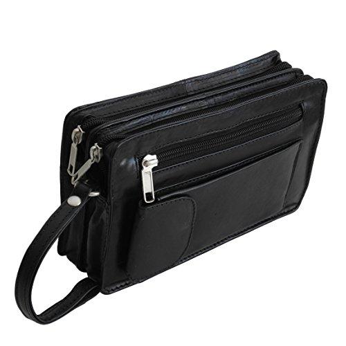 Bag Street Leder - Exquisite Leder Herren Handgelenktasche, Herrentasche, Handtasche, Handgepäck-Tasche (Schwarz - Doppelkammer) - präsentiert von ZMOKA®