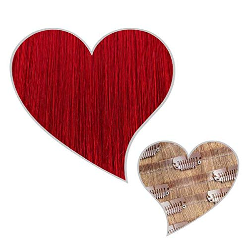 GLOBAL EXTEND® Clip in Extensions nahtlos rot#R 30 cm 120 g Volume Seamless Clips aus 100% Echthaar Haarverlängerung nahtlose Haarclips Haarverdichtung Real Human Hair
