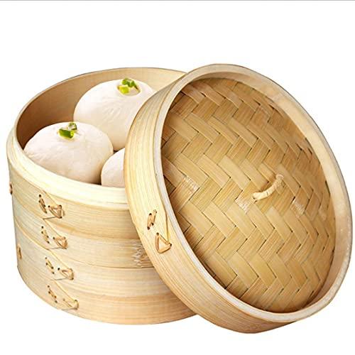 Bambusdämpfer, Dampfgarer Bambus, 10 Zoll Bambus Dampfkorb, 2-stufiger Bio Bambus Dünsteinsatz mit Deckel, 100% natürlicher Bambus, Chinesische Dämpfeinsatz Einsatz für Reis, Knödel, Gemüse, Fleisch