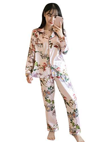ORANDESIGNE Pijama de Seda de Dos Piezas para Las Mujeres Primavera Ot