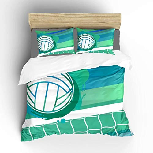 Aluy's boutique Volleyball and Net Ultra Soft Bedding Sets Duvet Cover Set, Twin Size 2 Pieces with 1 Duvet Cover and 1 Pillowcase, Best Gift for Kids, Boys, Girls