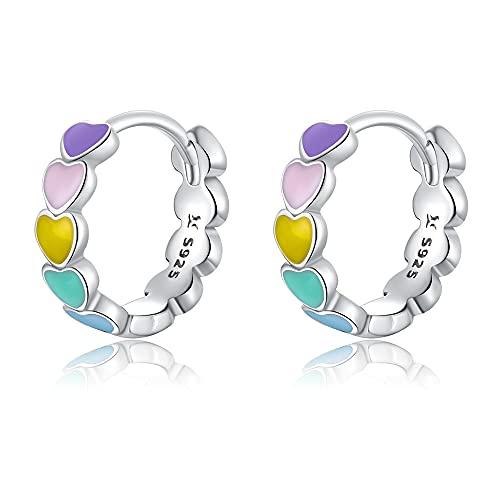 Ztowoto Pendientes de plata de ley 925 con diseño de arcoíris, coloridos pendientes de aro, regalos para niñas y mujeres (arcoíris)
