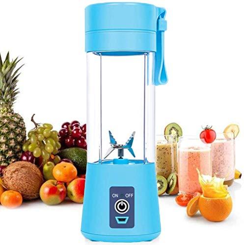 ZLJ Exprimidor portátil Strele de 6 Hojas, licuadora de Frutas y Verduras de 380 ml, Trabajo USB, licuadora para niños para Viajes en casa, Azul