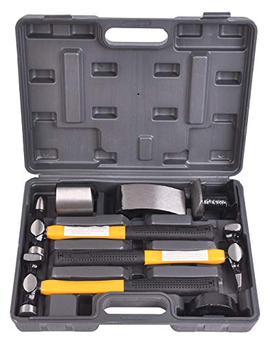 Auto Body Shaping and Forming Repair 7-Piece Kit – Fender Roller Fixer Dent Remover Tool Set with Hammer and Dolly
