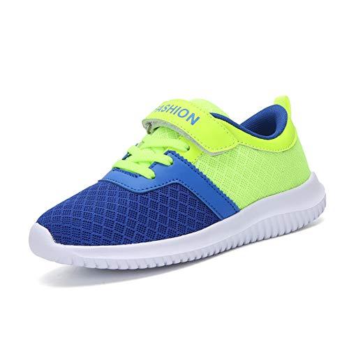 Minbei Unisex Kinder Hallenschuhe Klettriemen Jungen Sneakers Atmungsaktive Sportschuhe Laufschuhe Mädchen Leichte Turnschuhe Grün 32 EU/CN 33