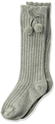 Jefferies Socks Girls' Little Rib Pom Knee High Socks 1 Pair Pack, grey heather, X-Small