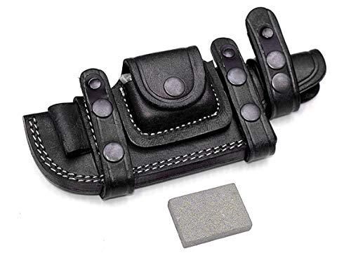 Custom Handmade Black Bushcraft Tracker/Skinner Knife Buffalo Leather Right/Left Hand Horizontal Scout Sheath & Sharpening Stone Set