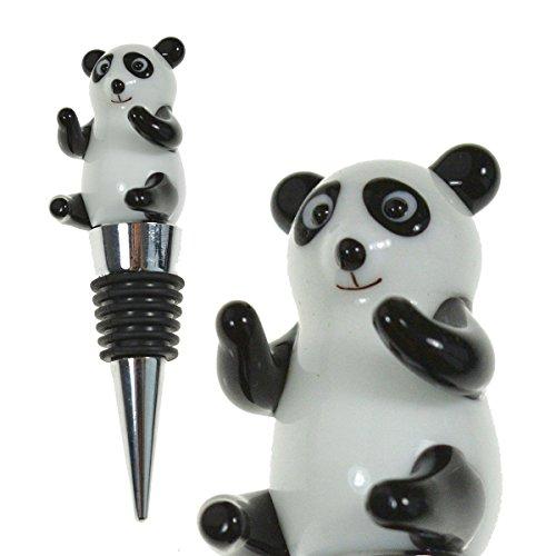 Glass Panda Bear Wine Stopper - Champagne/Wine Bottle Stopper, Decorative, Unique, Eye-Catching Glass Wine Stoppers – Panda Décor, Wine Accessories Gift for Hostess - Wine Corker / Sealer