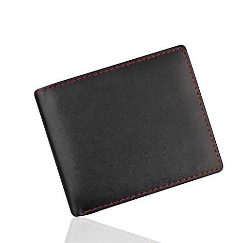 Glqwe Kleine Geldbörse Herren-Leder-Mappe Weinlese-Qualitäts-dünne Ledermini Mappen-Kreditkarte Bifold Geldbeutel-Münzen Schlüssel Purse (Color : Black)