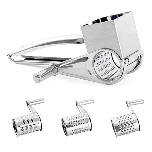 lefeindgdi - Rallador de queso rotativo de acero inoxidable, rallador de queso de manivela, cuchillas rotativas para cocina