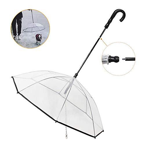 BETTERLE Paraguas para mascotas para perros, impermeable transparente con correa para perros pequeños y medianos, mantiene a tu mascota seca y cómoda en lluvia y nieve, diámetro de 72 cm