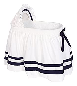 Baby Doll Bedding Modern Hotel Style II Bassinet Skirt Navy