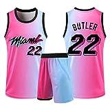 YPKL Jimmy Butler Jersey Set für Damen und Herren, Miami Heat 22#2021 Basketball Trikots und Shorts...