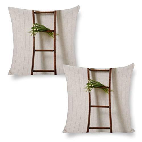 DKE&YMQ Funda de almohada de algodón y cáñamo, 2, madera de pared dura, estante, vegetal, 45,7 x 45,7 cm