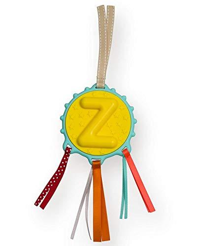 Hochet Alphabet Lettre Z comme Zelda, Zachari, Zoé... 20 cm de Long - Anneau à Bille - Anneau De Dentition en Élastomère - Rubans Tissus d'Eveil - Dès la Naissance - Cadeau d'Eveil et Décoratif
