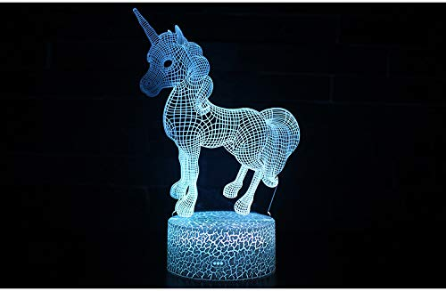 3D Night Lights for Kids, Illusion Lamp with 7 Color Changing Touch Switch, USB or Battery Powerd, Home Decoration Color Changeable Lamp, Best Gift For Boys Girls Bedroom Birthday -UNICORN(New Models)