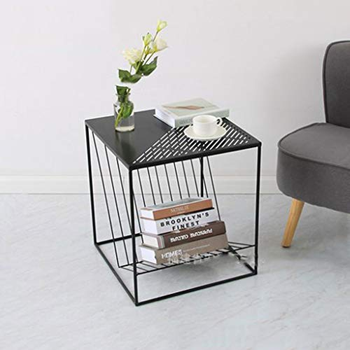 YSXCFZC Kaffee Snack Tabelle Schlafsofa Beistelltisch Wohnzimmer Kleiner Couchtisch 2 Schichten Speicher Zeitung Magazin Speicher (Color : Black, Size : 45.5 * 45.5 * 50cm)