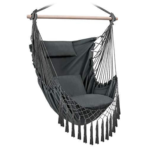 Sunix Hammock Chair Swing Hanging Hammock Chair with 3 Cushions, Large Hammock Hanging Chair for Patio, Porch, Bedroom, Backyard, Indoor or Outdoor, Loadable Up to 150 kg, Outstanding Comfort