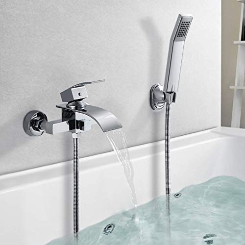 BONADE Badewannenarmatur Wasserfall mit Handbrause Einhand-Wannenbatterie Chrom Duscharmatur Wannenarmatur mit Duschschlauch für Badezimmer Badewanne