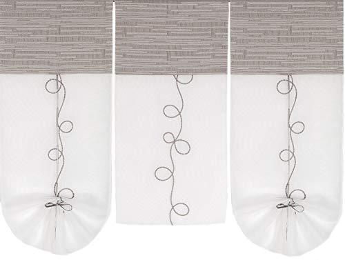 Startex 2231 Scheibengardine, Kombination aus blickdichtem Schrumpfgarngewebe mit transparentem, besticktem Voileteil, Beige, 2 80 cm x 30 cm, 1 STK. 60 cm x 30 cm