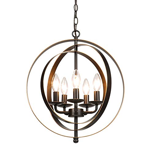 CO-Z 5 Light Orb Chandelier, Sphere Orb Hanging Lights for Dining Room Entryway Foyer Kitchen Bedroom, Antique Bronze Rustic Industrial Globe Metal Pendant Farmhouse Lighting Ceiling Light Fixture