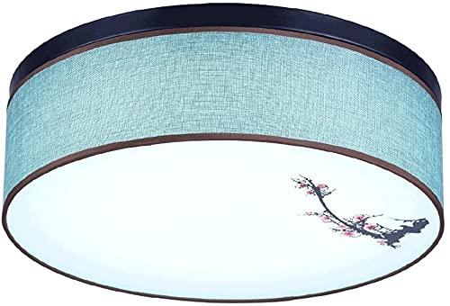 Luz de techo de la sala de estar nueva lámpara de techo chino, lámpara de techo redonda LED, moderno dormitorio minimalista Estudio de la lámpara de techo de tela