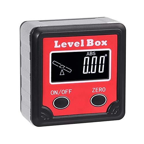 Proster Digitaler LCD Winkelmesser Neigungsmesser Magnetisches Winkelmessgerät Abgeschrägte Kasten LCD-Hintergrundbeleuchtung mit Mini-Schraubendreher -Rot