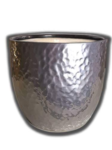 Der Perlenspieler® - Shabby Kerzenschmelzer Edel-Tischlicht in gehämmerter Silber-Optik-ca.12 cm x ca. 12 cm
