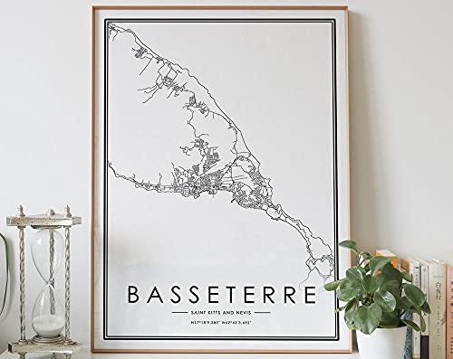 MG global Basseterre - Póster de San Cristóbal y Nieves, diseño de mapa de la ciudad en blanco y negro