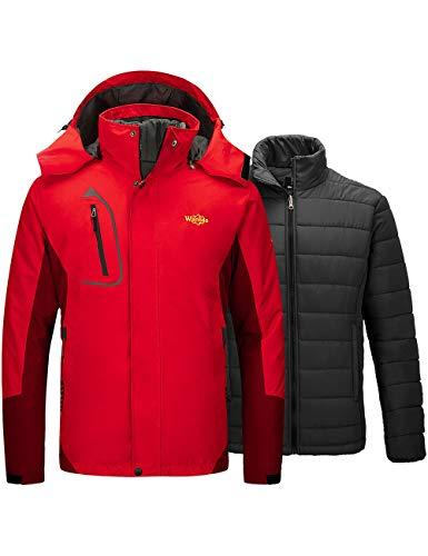 Mens Red 3 in 1 Ski Snow Jacket with Removable Puffer Liner