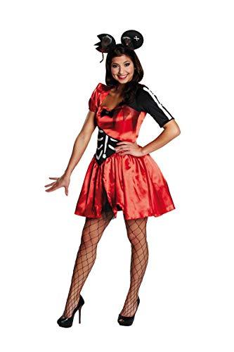 Generique - Sexy Zombie-Maus-Kostüm für Damen rot-schwarz-weiß