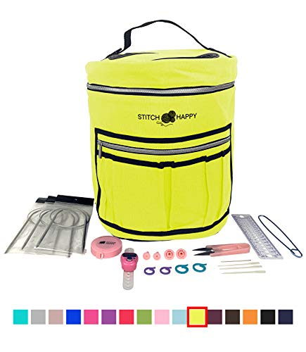 Designer Stitch Happy Knitting Starter Kit: 20 Piece Knitting Kit for Beginners & 7 Pocket Yarn Bag, Signature Yarn Storage - Sunshine Yellow