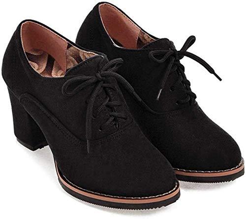 UMore Otoño Mujer Tacones Altos Vintage Gamuza con Cordones Zapatos de Negocios Elegantes Bombas de Punta Redonda Color sólido Oficina Carrera Zapatos Oxford