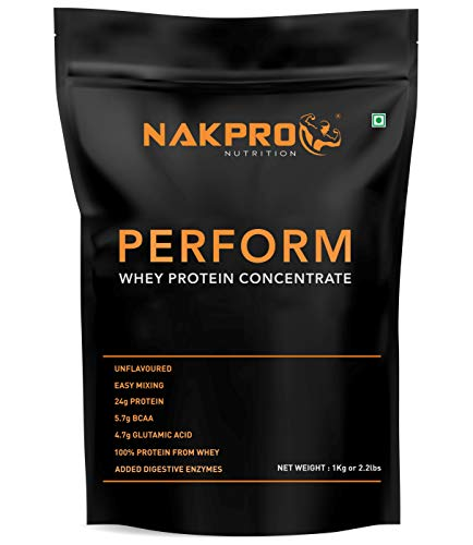 NAKPRO PERFORM Whey Protein Concentrate with Added Digestive Enzymes, Raw Whey Protein Supplement Powder - Unflavoured -1Kg (30 Servings)