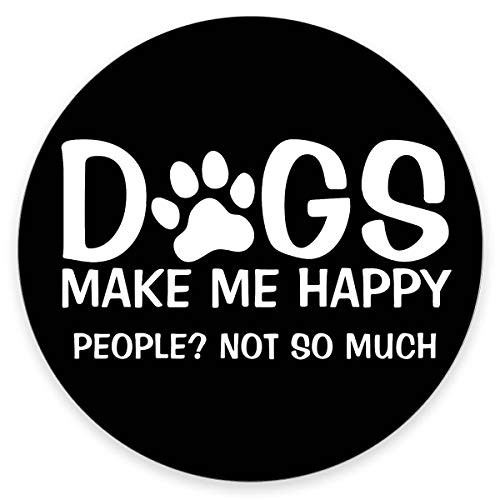 """Amcove Dog Quote Round Mouse Pad, Dogs Make Me Happy People Not So Much Funny Letter Black White Customized Round Non-Slip Rubber Mousepad Gaming Mouse Pad 7.9""""X7.9"""" inch"""