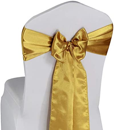 Gold Satin Chair Sashes Ties 50 pcs Wedding Banquet Party Event Decoration Chair Bows Gold 50 product image