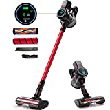Homever Cordless Vacuum Cleaner, 5 in 1 Lightweight Stick Vacuum Cleaner with Powerful Motor and Intelligent LED Screen, Washable HEPA Filter, Practical Tools for Hard Floor, Carpet, Red