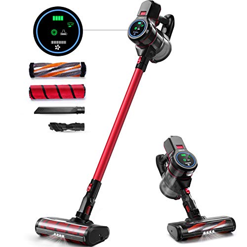 Cordless Vacuum Cleaner, 5 in 1 Stick Vacuum Cleaner with Washable HEPA Filter, Lightweight Bagless Vacuum Cleaner with LED Screen, Rechargeable Battery, Tools for Carpet, Wood Floor, Car, Stair, Red