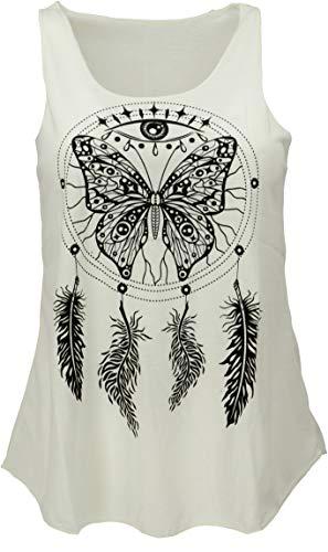 GURU SHOP Tanktop mit Ethnodruck, Damen, Schmetterling Creme, Synthetisch, Size:38, Tops & T-Shirts Alternative Bekleidung
