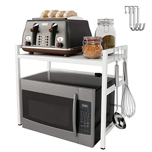 Yikko Estante para horno de microondas, ampliable, organizador de almacenamiento, soporte para microondas, tostadora, horno con ganchos de acero inoxidable al carbono, fácil de montar (blanco)