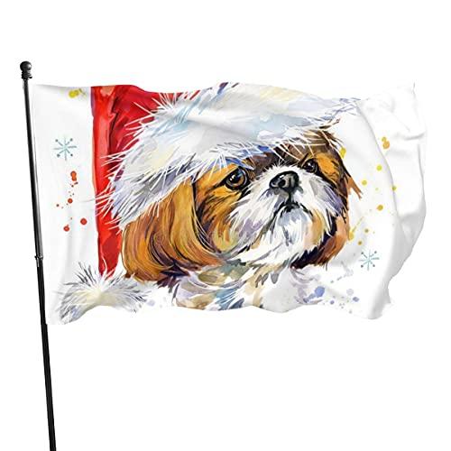 Banderas para jardín Navidad Shih Tzu Dog Art Santa Claus Bandera Grande de balcón para Exterior Reforzada y con 2 Ojales metálicos 90x150cm