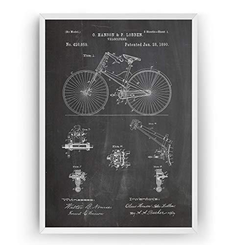 Fahrrad Velocipede 1890 Patent Poster - Jahrgang Drucke Drucken Bild Kunst Geschenke Zum Männer Frau Entwurf Dekor Vintage Art Blueprint Decor - Rahmen Nicht Enthalten