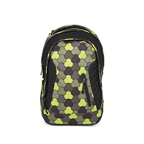 Satch Sleek Jungle Flow, ergonomischer Schulrucksack, 24 Liter, extra schlank, Grün/Schwarz/Gelb Einheitsgröße